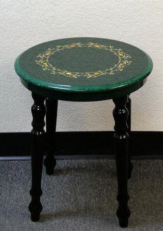 Briarwood Inlaid Lacquered Stool - Green - Table - Chess-House