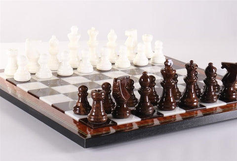 Brown & White Alabaster Chess Set with Wood Frame - Chess Set - Chess-House