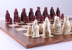 Cardinal Red Isle of Lewis Pieces on Palisander Board - Chess Set - Chess-House