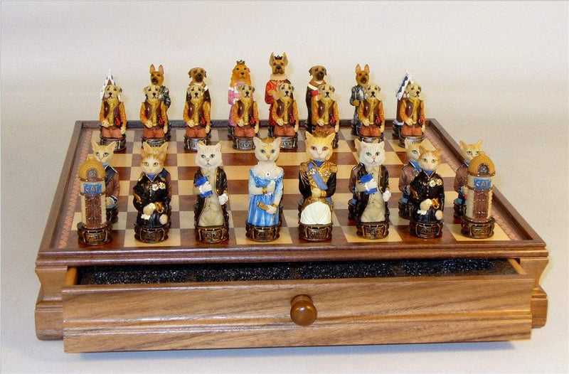 Cats Vs. Dogs Chess Set with Walnut Maple Chest
