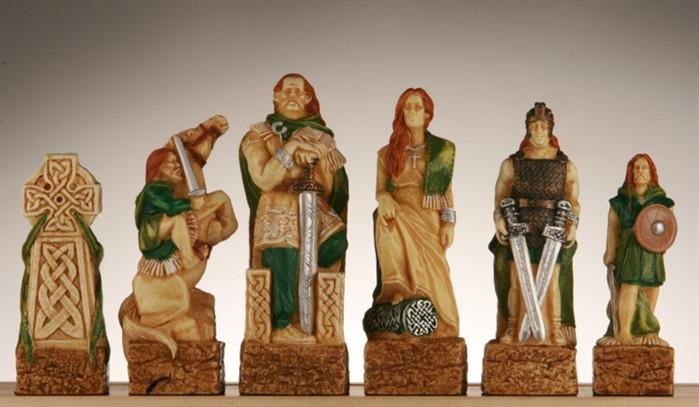 Celtic Vs. Vikings Chess Pieces - SAC Hand Decorated
