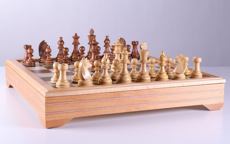 Championship Chess Set and Beech Wood Storage Board Combination