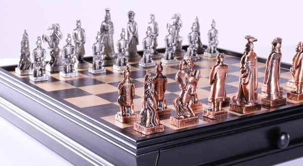 Chinese Qin Chess and Checker Set with Pewter Chessmen and Storage - Chess Set - Chess-House
