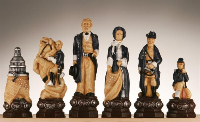 Civil War Chess Pieces-Studio Anne Carlton, Hand Decorated