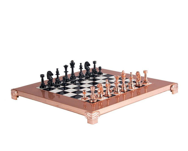 Copper Staunton Chess Set with Black and Copper Pieces - 11