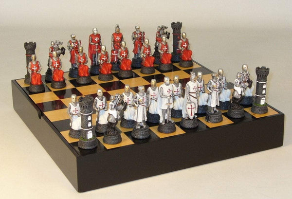 Crusades Chess Set on Black & Maple Chest Chess Set