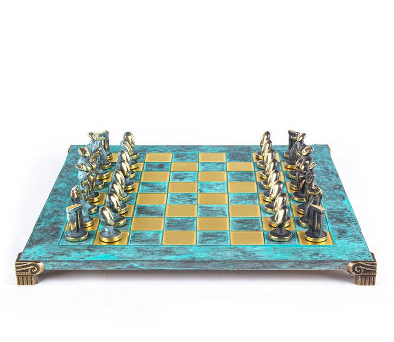 Cycladic Art Solid Brass Chess Set in Turquoise - 17