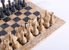 "DEAL ITEM: 15"" Coral Stone & Black Marble Chess Set (JUST THE BOARD) Garage Sale"