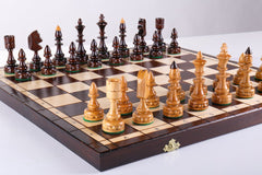 "DEAL ITEM: 18"" Indian Wooden Chess Set Garage Sale"