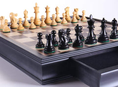 "DEAL ITEM: 19"" English Chess Set with Pullout Storage Drawers - Black - Garage Sale - Chess-House"