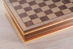 "DEAL ITEM: 20"" Wood Inlay Chessboard with Storage Garage Sale"