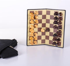 "DEAL ITEM: 9"" Milled Leather Travel Magnetic Chess Set with Wood Pieces - Piece - Chess-House"