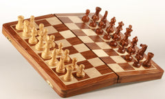 "DEAL ITEM: Large 16"" Folding Magnetic Golden Rosewood/Maple Chess Set in Leatherette Case - Garage Sale - Chess-House"