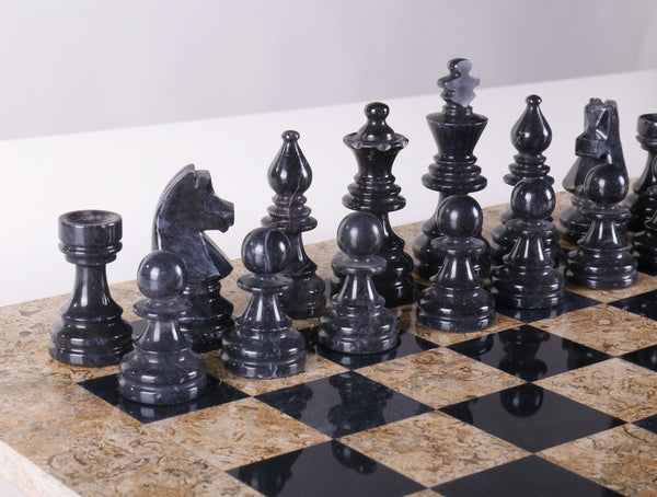 DEAL ITEM: Marble Chess Pieces in Coral and Black (PIECES ONLY) - Garage Sale - Chess-House