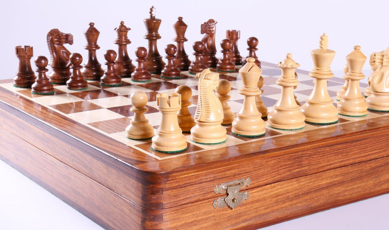 Deluxe English Wooden Chess Set with Storage