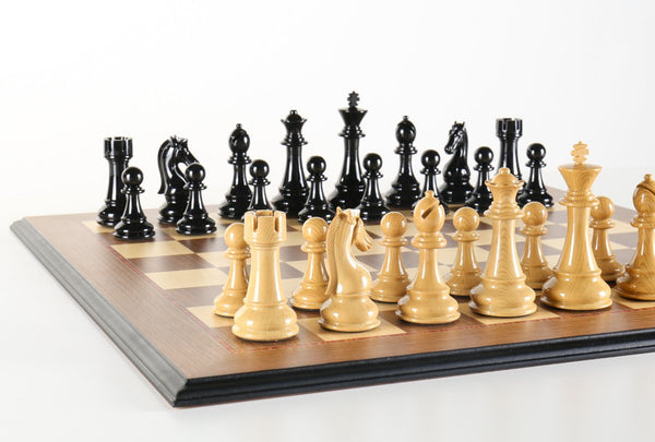 Deluxe Large Gloss Woodgrain Chess Set - Chess Set - Chess-House