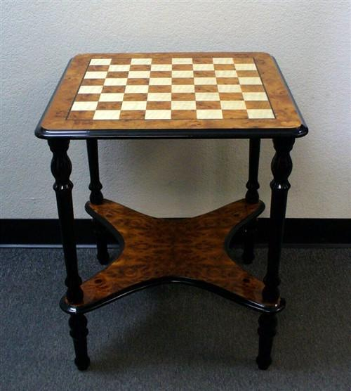 "Elm Briarwood Lacquered Table - 2"" Squares - Table - Chess-House"