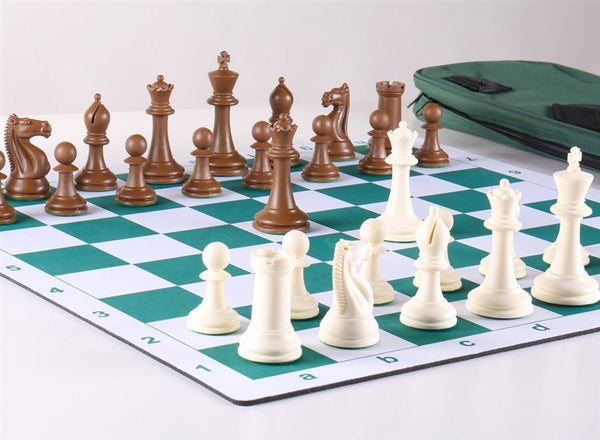 Emisario Deluxe Tournament Chess Set Combo - White & Brown - Chess Set - Chess-House