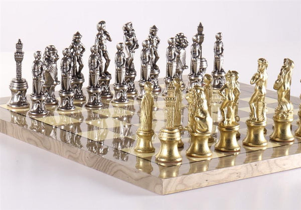 Florence Men On Grey Briar Board - Set - Chess-House