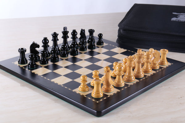 "GARAGE SALE ITEM: 12"" Magnetic Travel Chess Set in Black and Boxwood - Garage Sale - Chess-House"