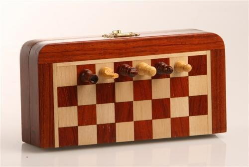 "GARAGE SALE ITEM: 5"" Magnetic Folding Chess Set in Blood Rosewood & White Maple - Garage Sale - Chess-House"