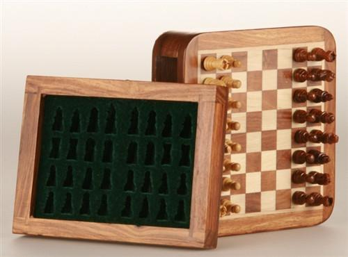 "GARAGE SALE ITEM: 5"" Magnetic Wood Square Travel Chess Game w/drawer - Garage Sale - Chess-House"