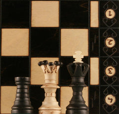 "GARAGE SALE ITEM: BLACK COLORED 21"" Ambassador Wooden Chess Set - Garage Sale - Chess-House"