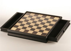 GARAGE SALE ITEM: Black Stained Wooden Board with Storage Drawer - 14 3/4 in. - Garage Sale - Chess-House
