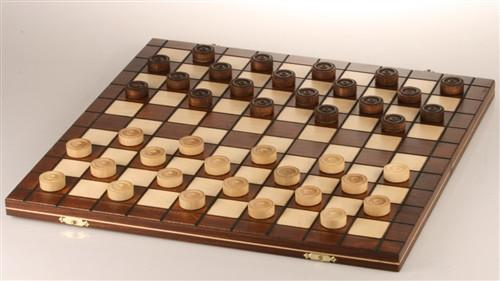 GARAGE SALE ITEM: Wooden Checkers 100 squares, International Draughts - Garage Sale - Chess-House