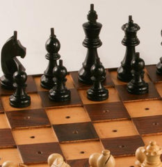 GARAGE SALE ITEM: Wooden Chess Set for the Blind - 3.75 inch King - Garage Sale - Chess-House