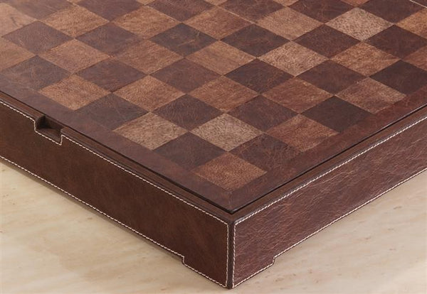 Genuine Brown and Beige Leather Chest - Board - Chess-House