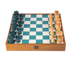 Geometric Style Chessmen on Turquoise Leatherette Board - 15.75""