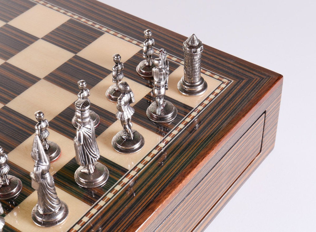 Glossy Storage Board With Metal Pieces Chess Set Combo   Chess Set   Chess  House