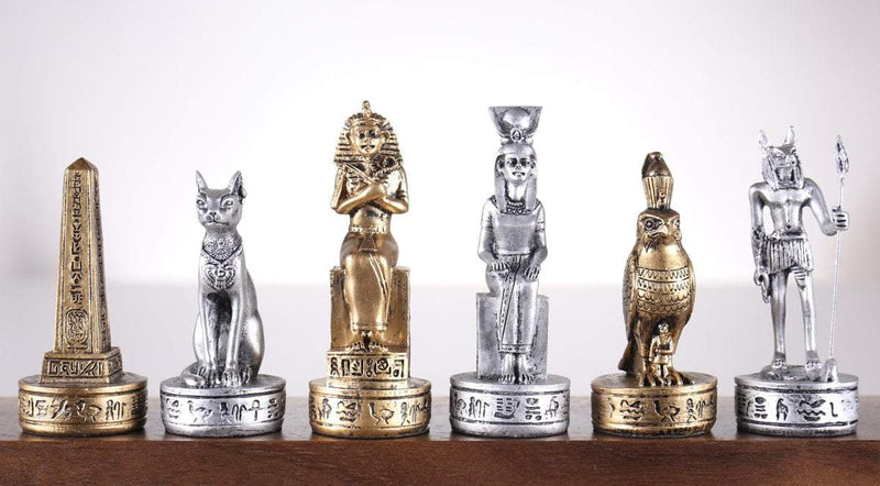 Gold and Silver Egyptian Chess Pieces