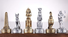 Gold and Silver Egyptian Chess Pieces Piece