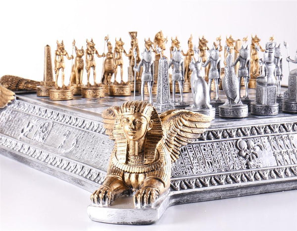 Gold and Silver Egyptian Chess Set - Chess Set - Chess-House