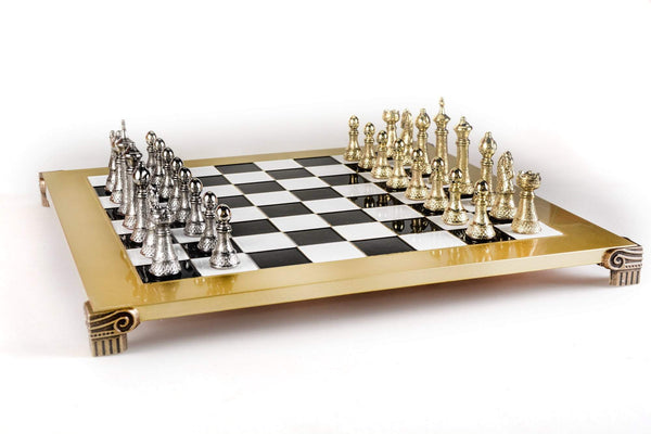 Gold and Silver Staunton Chess Set - 17""