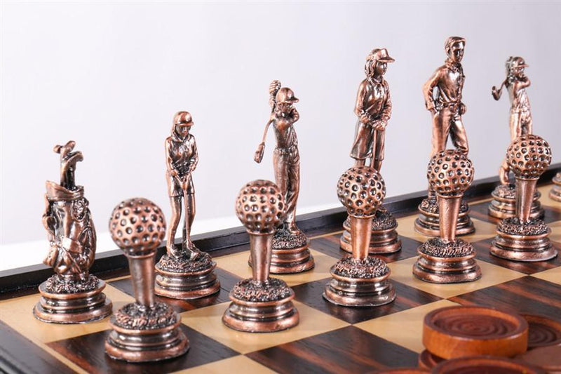 Golf Chess and Checker Set with Pewter Chessmen and Storage