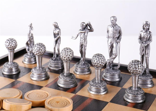 Golf Chess And Checker Set With Pewter Chessmen And