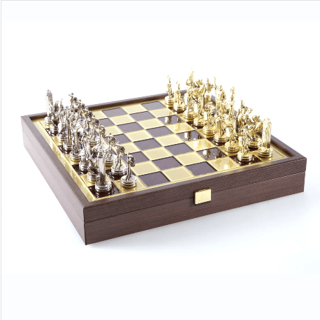 "Greek Mythology Chess Set with Red Storage Board - 14"" - Chess Set - Chess-House"