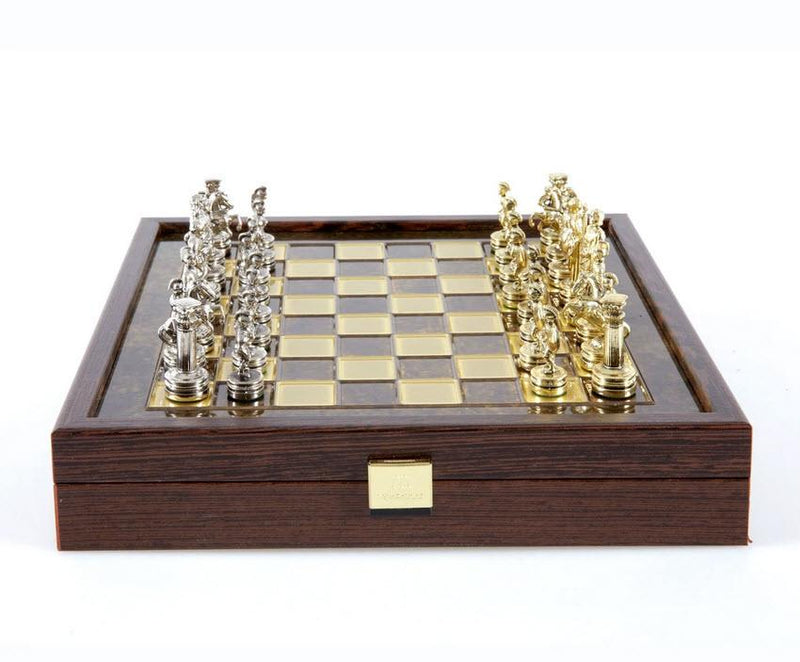 Greek Roman Period Chess Set with Brown Storage Board - 10.5