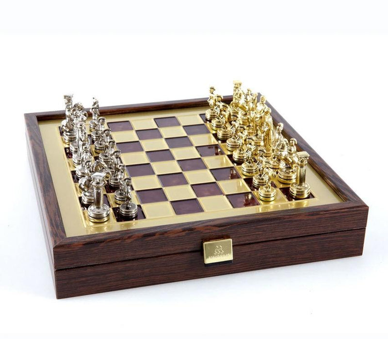 Greek Roman Period Chess Set with Red Storage Board - 10.5