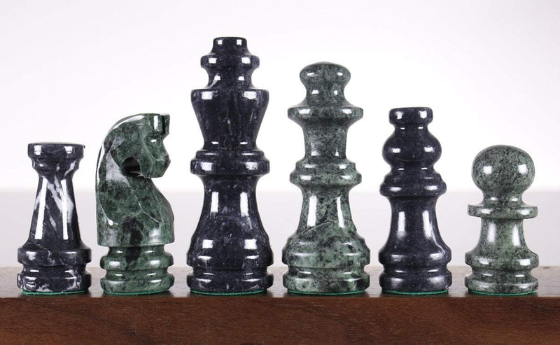 Green and Black Marble Chess Pieces