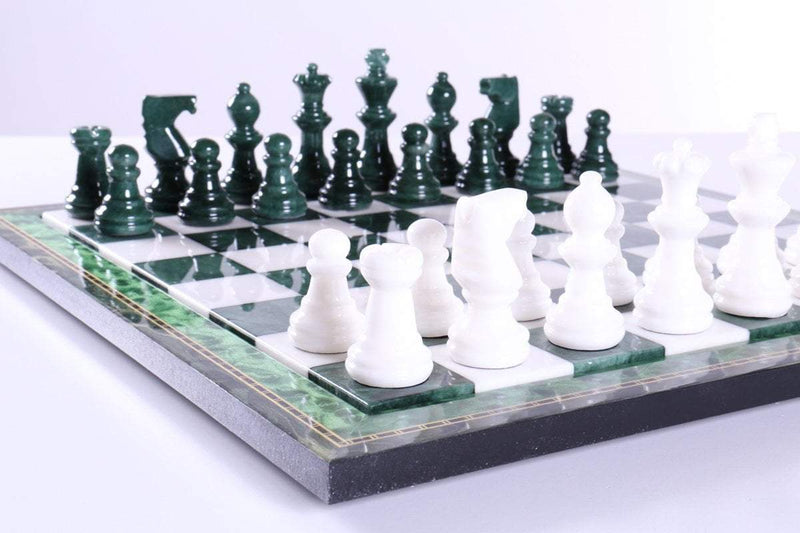 Green & White Alabaster Chess Set with Wood Frame