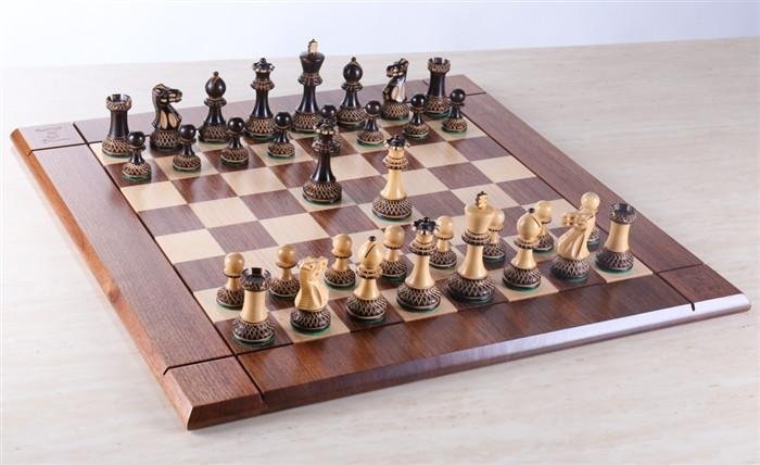 Heirloom Burnt Finish Grandmaster Chess Set   Chess Set   Chess House