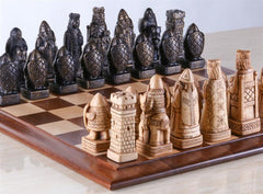 House of Hauteville Chess Set and Board Combo - Antique White and Black Marble - Chess Set - Chess-House