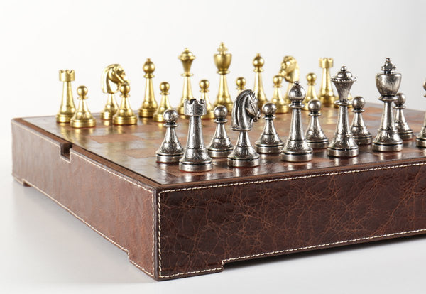 "Italy 3"" Metal Chess Pieces on Leather Chest - Chess Set - Chess-House"