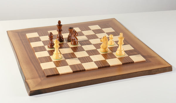 JLP Natural Edge Hardwood Chessboard #10 - Board - Chess-House