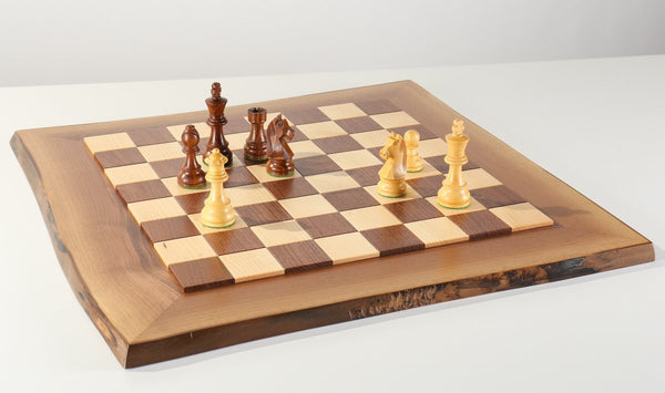 JLP Natural Edge Hardwood Chessboard #12 - Board - Chess-House