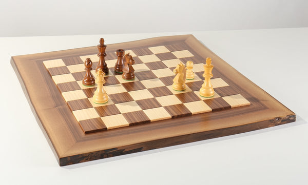 JLP Natural Edge Hardwood Chessboard #13 - Board - Chess-House